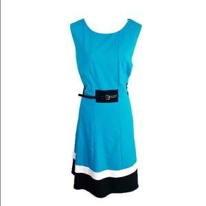 Calvin Klein blue colorblock belted flare dress